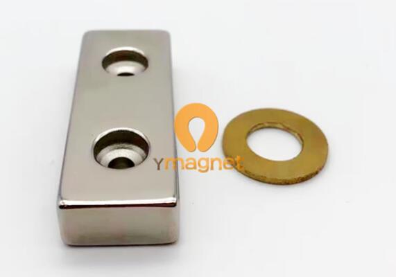 n42 ndfeb block double countersunk magnet f50 19mm 10mm 1 - N42 NdFeB Block Double Countersunk Magnet F50mm*19mm*10mm